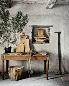 Artisan Andrea Brugi natural stool, cutting boards as seen on linenandlavender.net