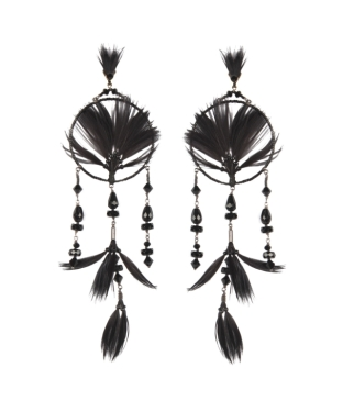 Valentino Valentino Woman Ruthenium-tone, Crystal, Bead And Feather Earrings Black Size